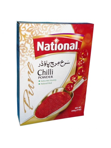 National Chilli Powder Extra Hot Variety and Natural Red (200 Gm)
